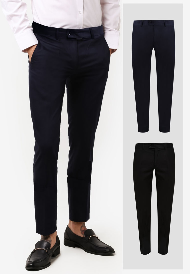Fit Black 2 Formal Trousers Slim Pack ZALORA Navy aAcxqURw