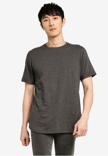 UniqTee 灰色 素色反摺袖T恤 1E06AAAD3C6149GS_1