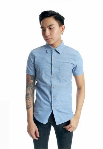 Praise blue Short Sleeves Shirt PR067AA64KKHSG_1