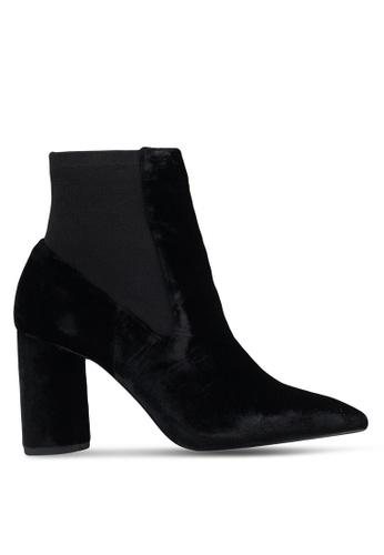 Mango 黑色 絲絨高跟踝靴 A71E2SH8619CEBGS_1