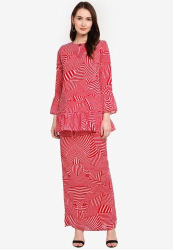 Zuco Fashion red Midi Kurung with Ruffles B3AFDAA3E4B54BGS_1