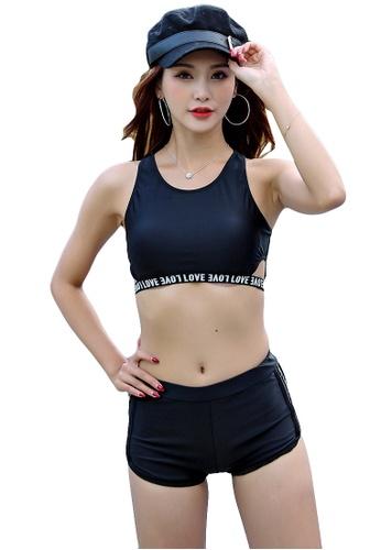 YG Fitness black (3PCS) Fashion Sports Swimsuit Set E448CUS9EC2C36GS_1