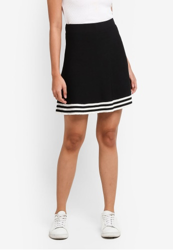 Something Borrowed black Stripe Trim Skirt 4BA7CAA598007DGS_1
