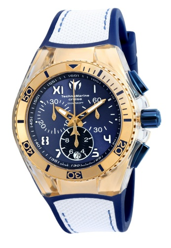 TECHNOMARINE white and gold Technomarine Cruise Unisex 40.57mm Case Blue, White Silicone, Canvas Strap Blue, White Dial Quartz Watch TM-115018 TE359AC0F5GDSG_1