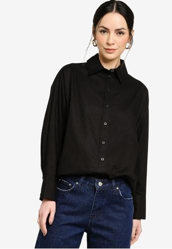 ZALIA BASICS black Boyfriend Shirt 49BE5AAD106376GS_1