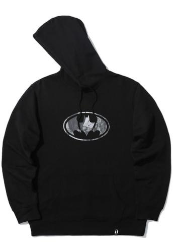 BLOCKAIT black X Batman emblem print hoodie D3073AA7271712GS_1