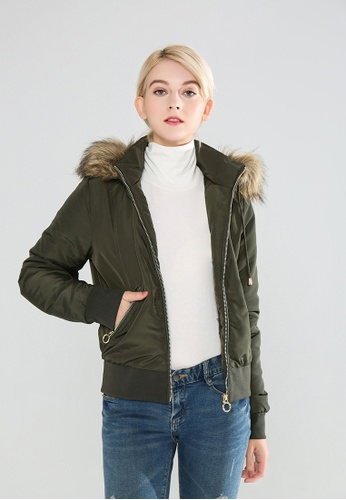 London Rag green Faux Fur Hoodie Jacket D0CD1AA36832FBGS_1