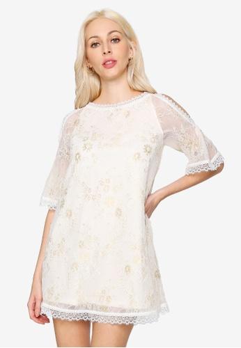 Hopeshow beige Cold Shoulder Lace Mini Dress 87599AA40D14D5GS_1