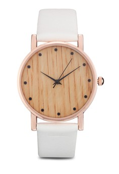 Wood Textured Face Watch With Coloured Strap