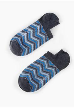 【ZALORA】 Home 山型紋精梳棉 輕薄型船型襪-93028-藍