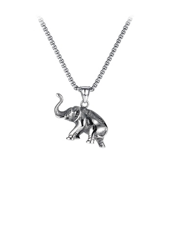Glamorousky silver Fashion and Elegant Elephant 316L Stainless Steel Pendant with Necklace 74C80ACF9740FBGS_1