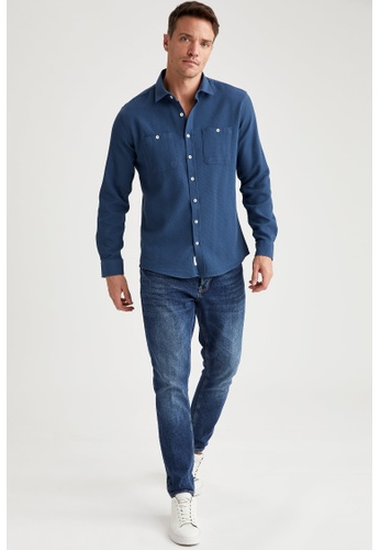 DeFacto blue Man Woven Long Sleeve Shirt B80D7AAE154432GS_1