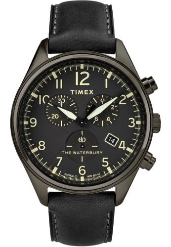 278e4a4b9 TIMEX black Timex-Waterbury Traditional Chrono Gunmetal Case Black Dial  Black Leather Strap-TW2R88400