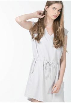 a5a5525f5e Missy Stella grey V-Neck Straw-String Dress in Grey 8F352AA41C1B3CGS_1