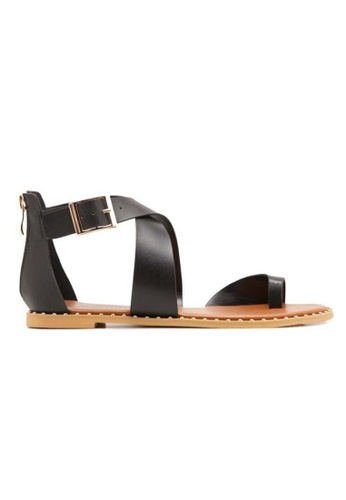 Deraine Shoes black Deraine Cross Vamp Sandals (Black) DE489SH0SYR0MY_1