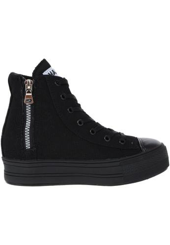Maxstar black Maxstar Women's C2 7 Holes Zipper Hidden Heel Canvas High Top Sneakers US Women Size MA164SH37PSWSG_1