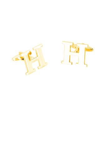 Glamorousky 銀色 簡約個性鍍金色英文字母H袖扣 2F48BAC3F3B445GS_1