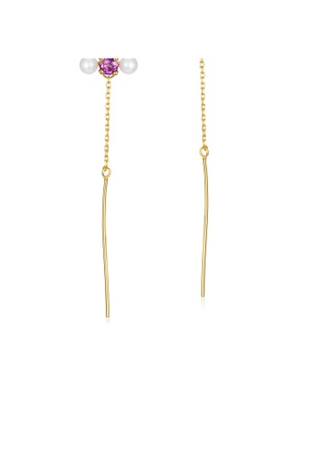 SUNSET 金色 Premium 925 Sliver Pearl Earring DAED3ACBC379EEGS_1