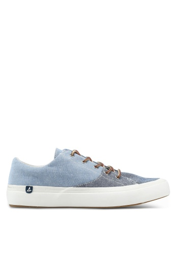 Sperry grey and blue Haven Lace Up Chambray Sneakers SP132SH0SXB6MY_1