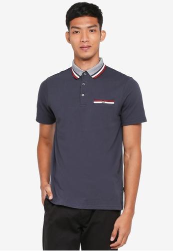 Burton Menswear London 海軍藍色 Navy Tri-Tip Popcorn Polo Shirt 699DEAAB80A5B4GS_1