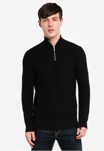 Burton Menswear London 黑色 高領拉鍊針織衫 EAB33AA406B999GS_1