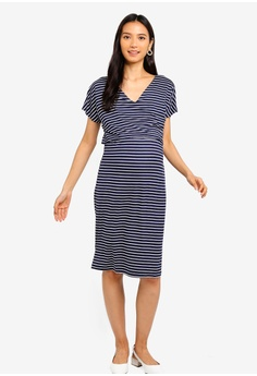 ce0341cddbbd1 JoJo Maman Bébé navy Maternity Stripe Tie Waist Dress A0906AA3EE32A8GS_1
