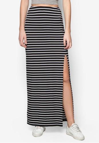 基本款側zalora時尚購物網的koumi koumi開衩長裙, 服飾, 裙子
