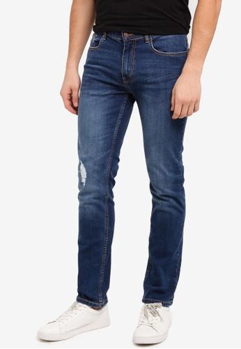 Burton Menswear London 藍色 直筒修身牛仔褲 8BCBDAA208F0B6GS_1