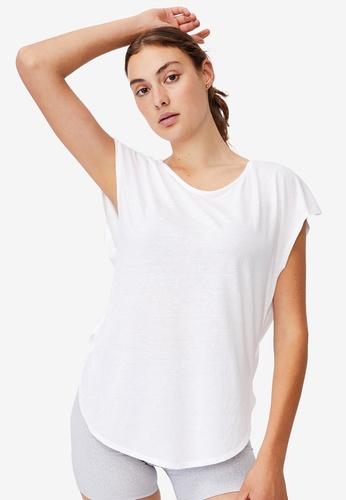 Cotton On Body 白色 Active Scoop Hem T-Shirt E8EFCAA05B2AE5GS_1