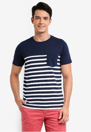Brooks Brothers navy Red Fleece Stripe Pocket Tee 9E1FDAAE4552F6GS_1