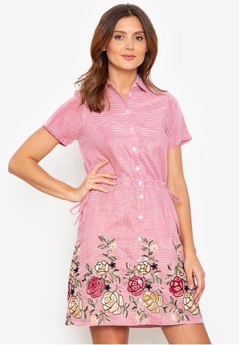 Beyond The Seams red Lalaine Stripes Embroidered Drawstring Waist Dress 882B0AAD78AAF4GS_1