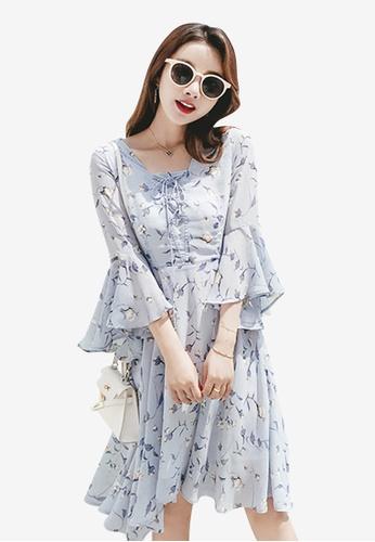 Lara multi Women Printed Flare Sleeves Dress 93994AA153AEA1GS_1
