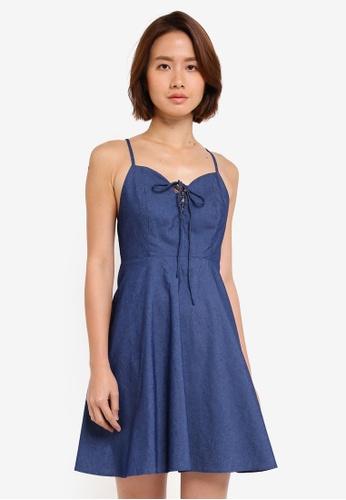 ZALORA blue Tie Front Cami Dress 66054AAB040DFCGS_1