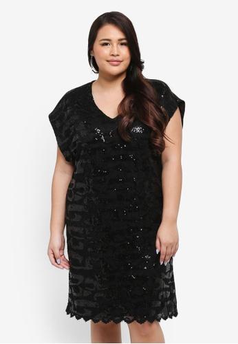 Goddiva black Plus Size Sequin & Lace Shift Dress 80ADCAA73082F9GS_1