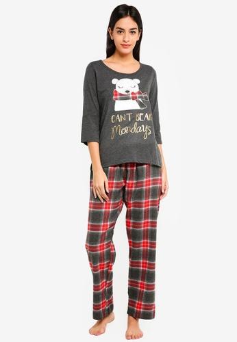 Dorothy Perkins grey Grey Can't Bear Monday's Pyjamas Set F1078AA4293EB0GS_1