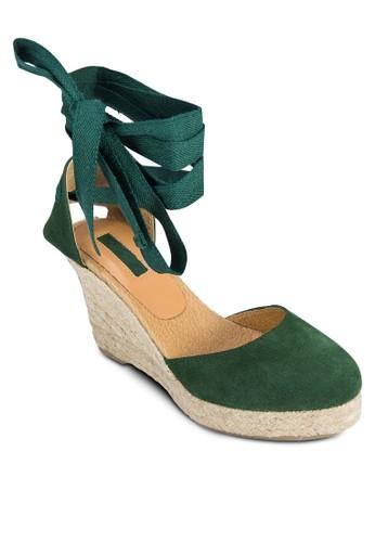 纏繞esprit 台中踝帶麻跟楔形鞋, 女鞋, 鞋