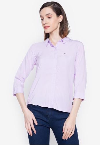 "Bossini Ladies purple Woven Plain Rayon 3/4"" Sleeves Polo 3FBB5AA3F3607AGS_1"