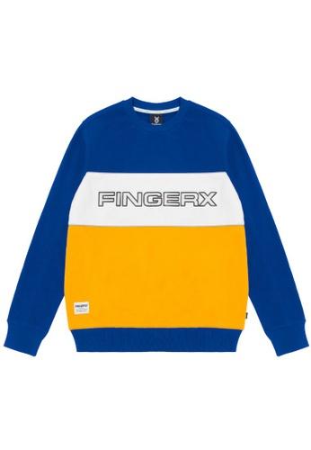 Fingercroxx navy Colour block logo sweatshirt 5CDBDAABCC3E4DGS_1