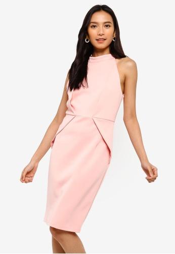 ZALORA 粉紅色 褶飾洋裝 71556AA62D1053GS_1