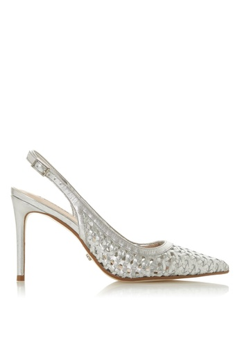 26400e1445 Dune London silver Weave Detail Slingback Court Heels 691AESH593418BGS_1