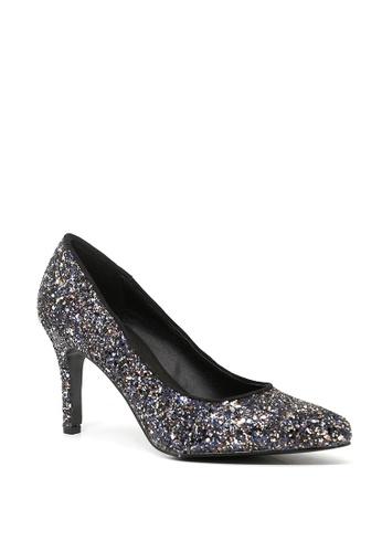 7d96bc2f8cd5 London Rag black Real Wide Fit Black Glitter High Heel Pumps SH1501  75E8ASH27DFBE7GS 1