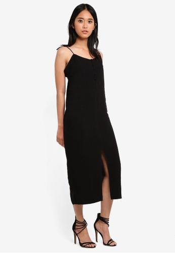 TOPSHOP black Tie Button Midi Slip Dress F712DAA5A30262GS_1