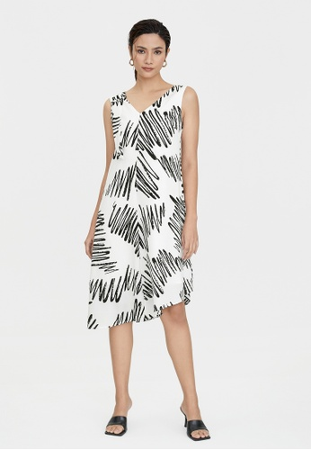 Pomelo white Scribble Print Asymmetric Dress - White F6121AABF97378GS_1