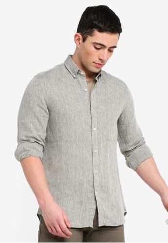 6b4ba9cd82f9 MANGO Man beige Slim-Fit Linen Shirt F551EAA5E46D06GS 1