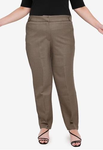 Violeta by MANGO brown Plus Size Slim-Fit Cropped Trousers A9B75AA423E56FGS_1