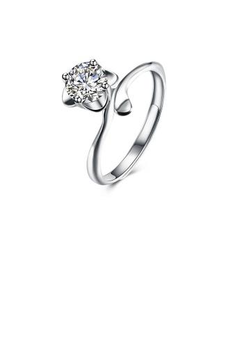Glamorousky white 925 Sterling Silver Fashion Elegant Flower Cubic Zircon Adjustable Ring DFB45AC38DF215GS_1