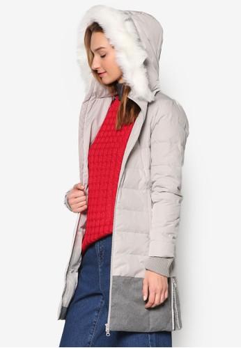 混合材質修zalora 男鞋 評價身長版羽絨外套, 服飾, 羽絨外套