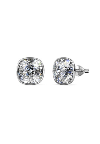Her Jewellery silver Amethyst Earrings (White) - Made with premium grade crystals from Austria 5D135ACE314393GS_1