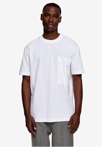 Topman white White Woven Pocket T-Shirt 5C1F7AA6A33368GS_1