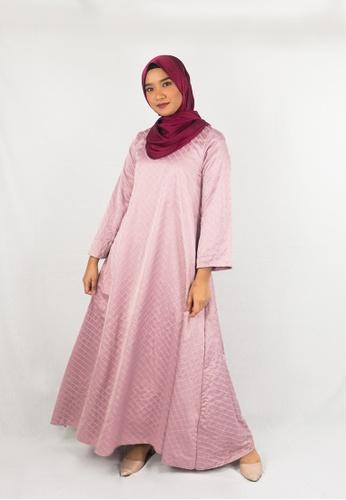 Zaryluq grey and pink Kaftan Dress in Sweet Pea F3B66AA8653CA5GS_1